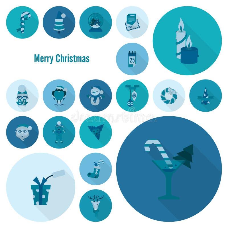 Собрание икон рождества и зимы иллюстрация вектора