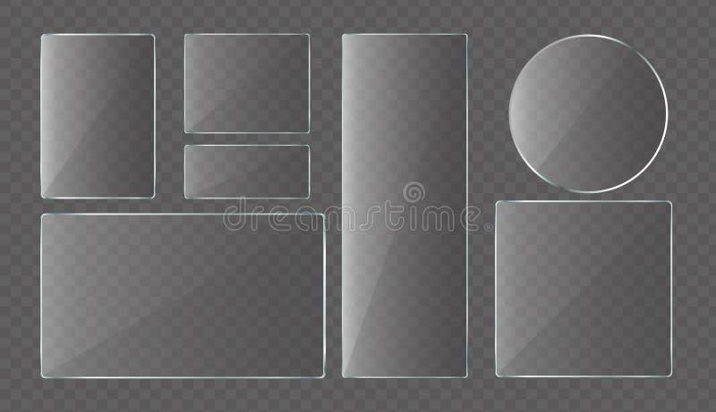 Собрание иллюстрации вектора стеклянных пластинок, стекла защиты для ноутбука и смартфона Комплект стеклянных знамен иллюстрация штока