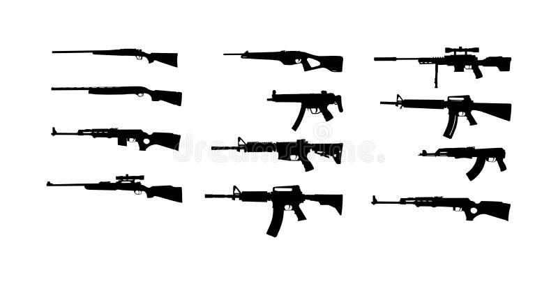 Собрание иллюстрации силуэта винтовки изолированной на белой предпосылке Силуэт символа снайперской винтовки, semi автоматический стоковые изображения