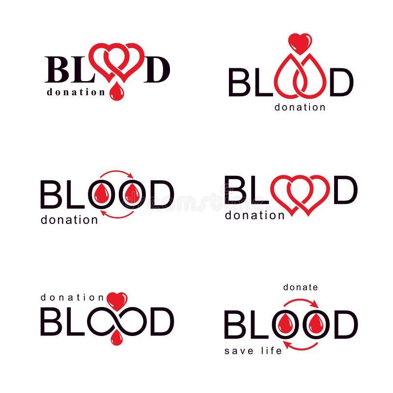 Собрание иллюстраций донорства крови вектора схематическое Концепции здравоохранения и медицинского лечения для пользы в фармацев иллюстрация вектора