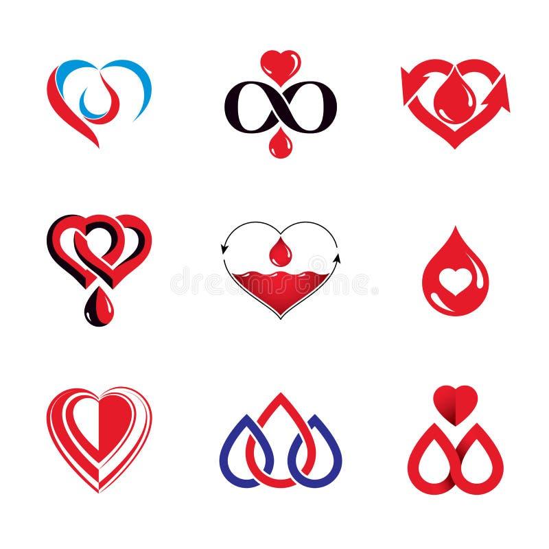 Собрание иллюстраций донорства крови вектора схематическое Healt иллюстрация штока