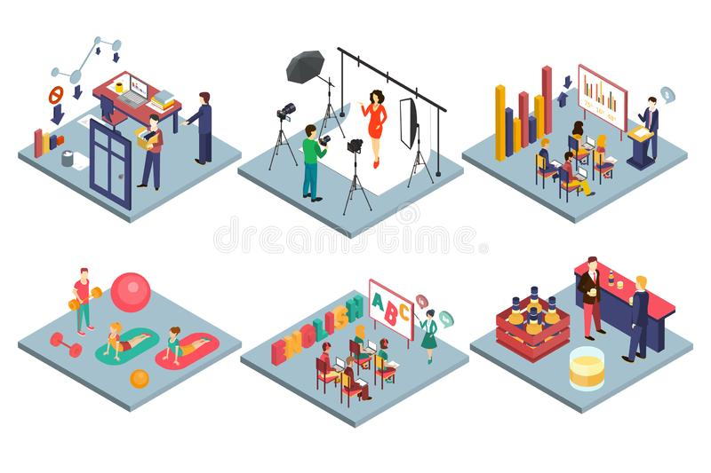 Собрание интерьеров, студия фото, комната школьного класса, спортзал, офис, иллюстрация вектора Адвокатуры внутренняя плоская иллюстрация штока