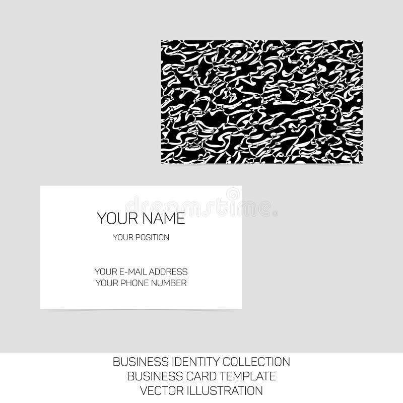 Собрание идентичности дела Черно-белый хаос Передние и задние стороны для шаблона визитной карточки желтый цвет обоев вектора ура иллюстрация вектора