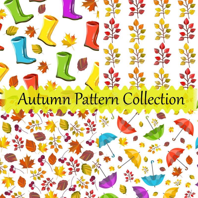 Собрание картины вектора безшовное, набор Дизайн осени Красочные, милые, славные печати Ботинки, зонтики, текстура листвы иллюстрация вектора