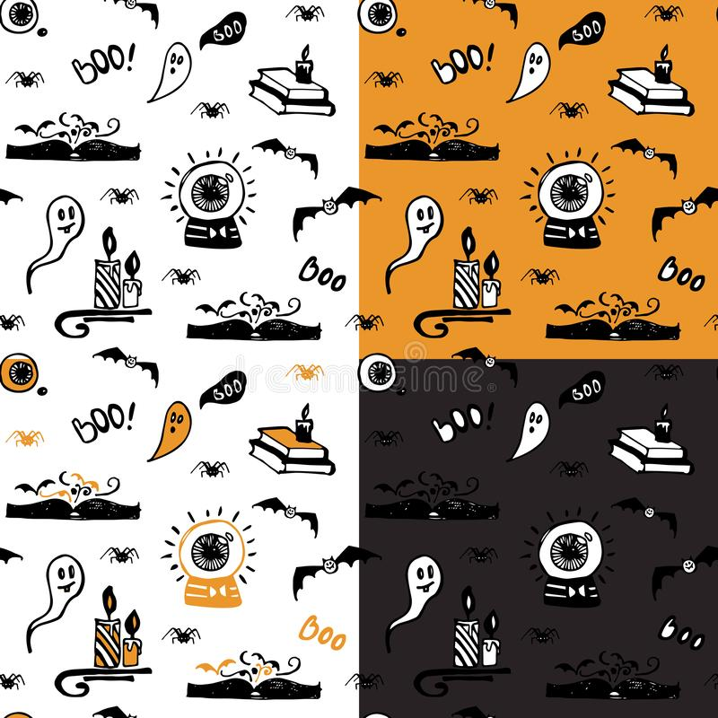 Собрание картин хеллоуина безшовных с призраками, пауками, летучими мышами, волшебными книгами и свечами иллюстрация вектора