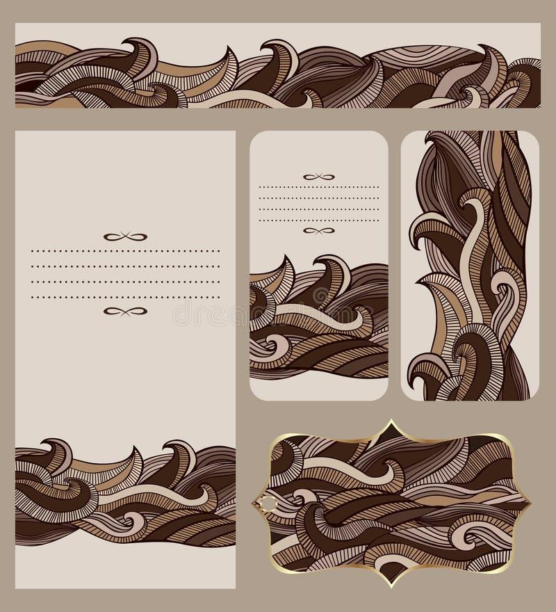 Собрание карточек с абстрактной картиной волн шоколада иллюстрация штока