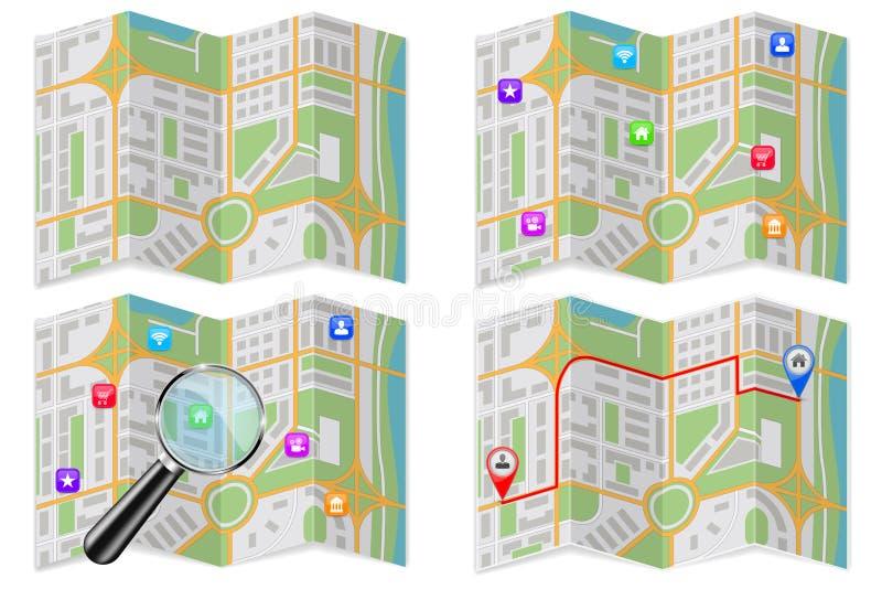 Собрание карт города С лупой и популярными отметками положения иллюстрация штока