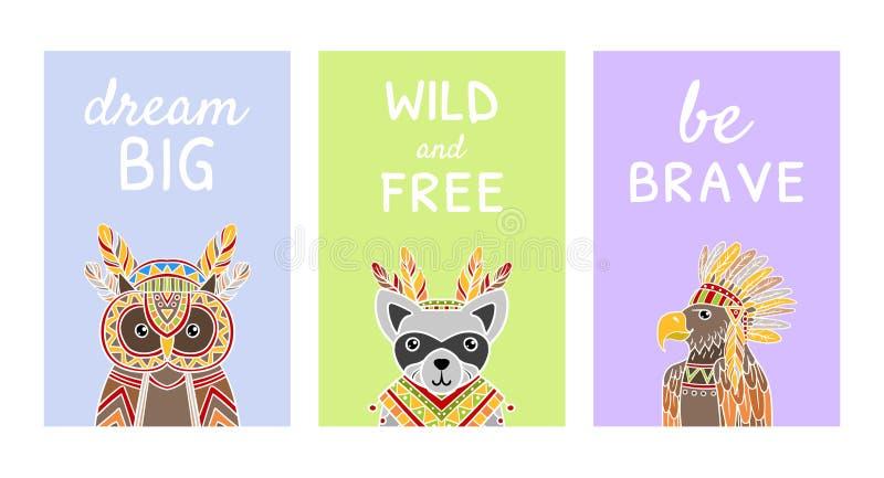 Собрание карт с вдохновляющими цитатами и милыми этническими сделанными по образцу животными, большая, дикий мечты и свободный, х иллюстрация вектора