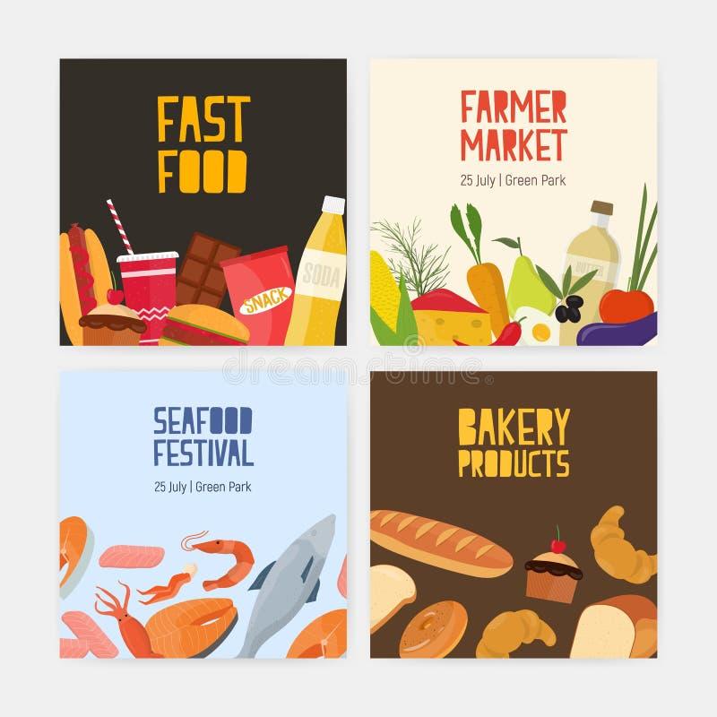Собрание квадратных карточек шаблонов рогульки для фаст-фуда, рынка фермера, фестиваля морепродуктов и продуктов хлебопекарни иллюстрация вектора