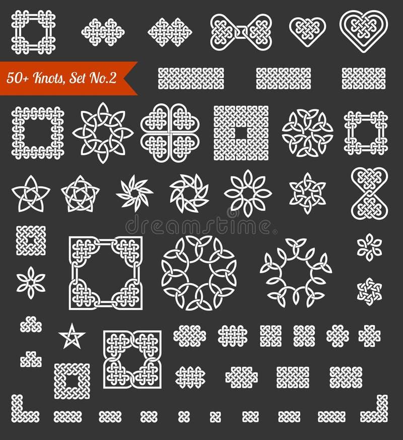 собрание 50+ кельтского, китайца и других узлов и элементов дизайна для пользы в ваших творческих проектах Установите никакой 2 в иллюстрация вектора
