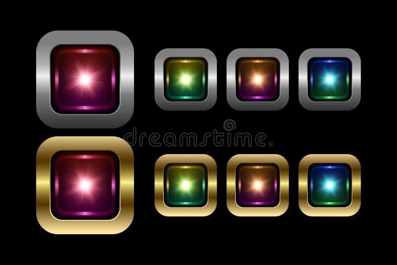 Собрание кнопок вектора квадратное бесплатная иллюстрация