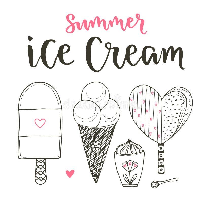 Собрание комплекта мороженого шаржа вектора Конусы и милое мороженое в стиле doodle Вектор установленный с литерностью иллюстрация штока