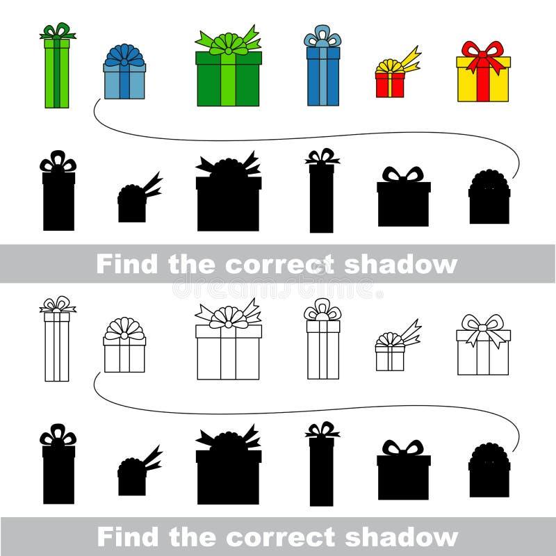 собрание коробки различное каждый подарок наслаивает отделено Найдите правильная тень иллюстрация вектора