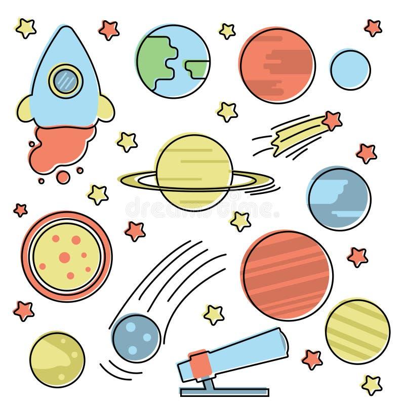Собрание космоса с планетами бесплатная иллюстрация