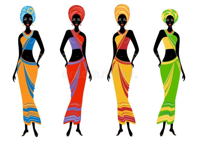 Собрание красивых Афро-американских дам Девушки имеют яркие одежды, тюрбан на их головах Женщины молоды и тонкий иллюстрация штока