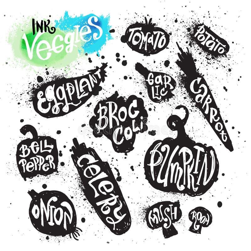 Собрание краски для пульверизатора силуэта овощей splatter чернил бесплатная иллюстрация