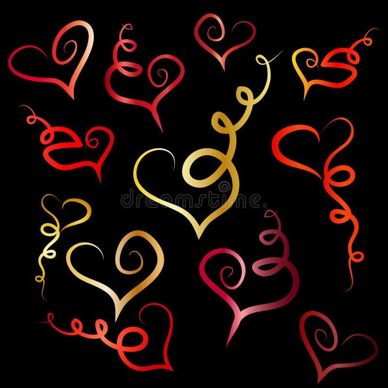 собрание красных форм сердца изолированное на белой предпосылке иллюстрация вектора