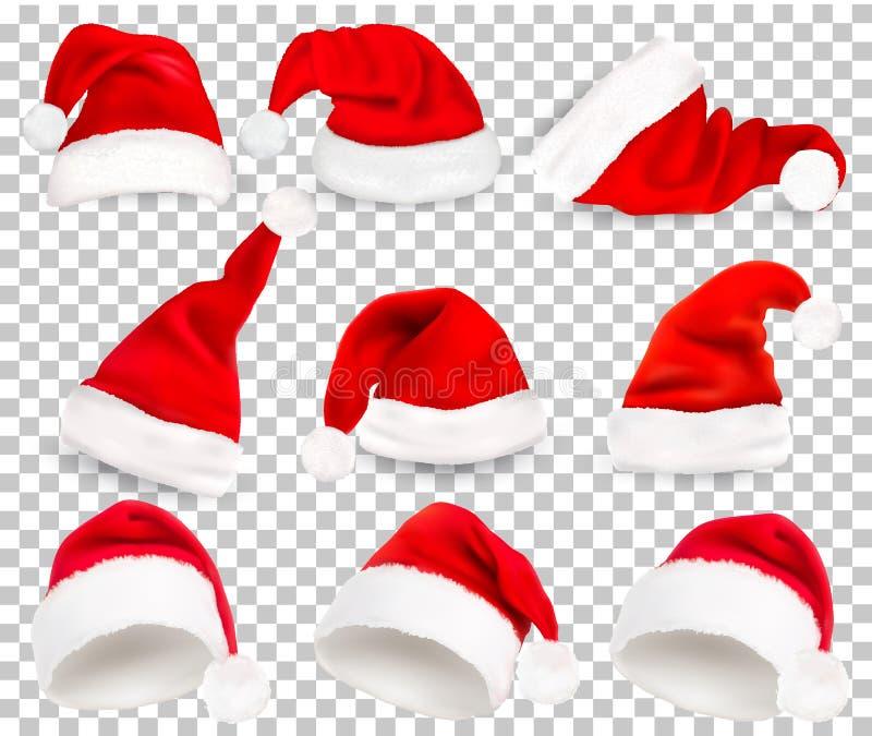 Собрание красных шляп santa на прозрачной предпосылке бесплатная иллюстрация