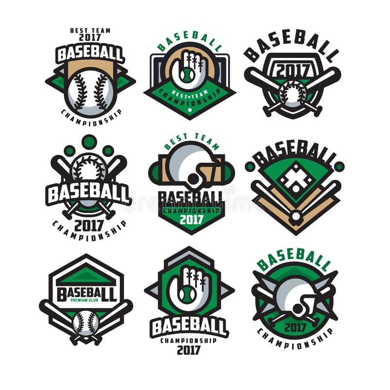 Собрание красочных логотипов бейсбола Ярлыки с шариками, перчатками, летучими мышами и защитными шлемами Линейные эмблемы спорт бесплатная иллюстрация