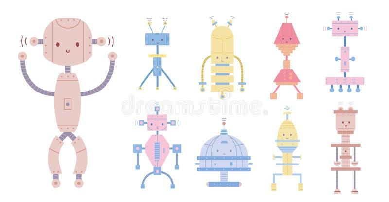 Собрание красочных милых усмехаясь роботов изолированных на белой предпосылке Пачка различных киборгов игрушки, смешная иллюстрация вектора