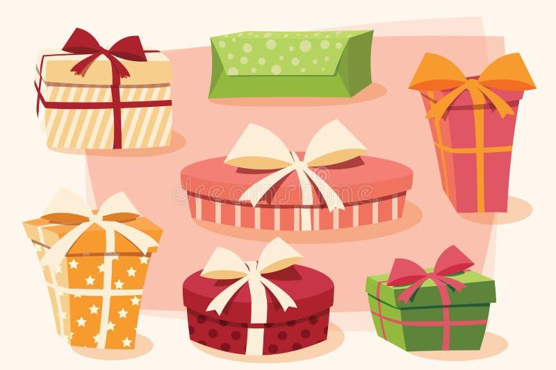 Собрание красочных подарочных коробок с смычками и лентами иллюстрация вектора