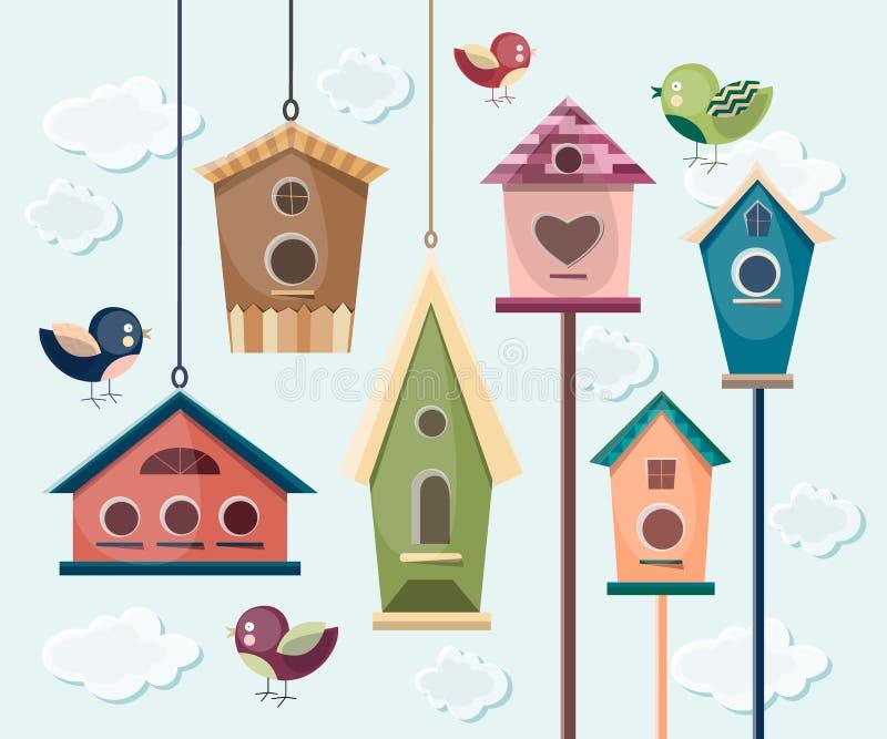 Собрание красочных птиц и birdhouses бесплатная иллюстрация