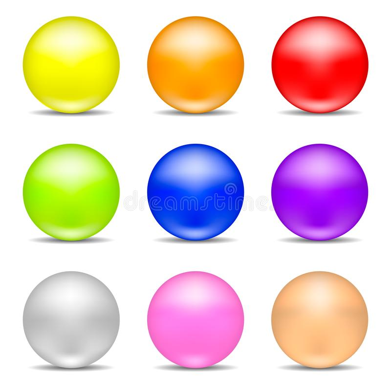Собрание красочных реалистических сфер изолированных на белой предпосылке Установите лоснистых сияющих сфер также вектор иллюстра бесплатная иллюстрация