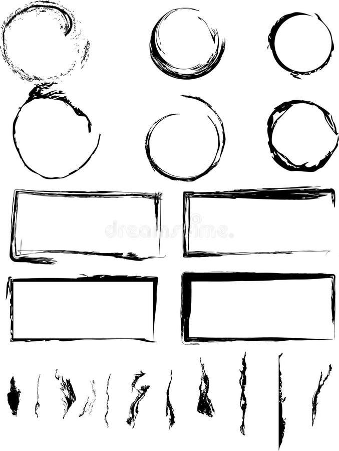 собрание кругов границ grungy стоковое изображение rf