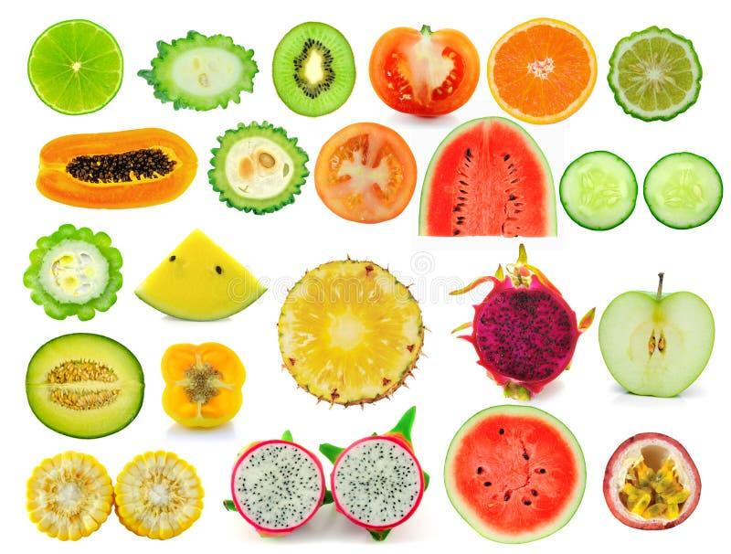Собрание куска плодоовощ изолированное на белизне стоковое изображение rf