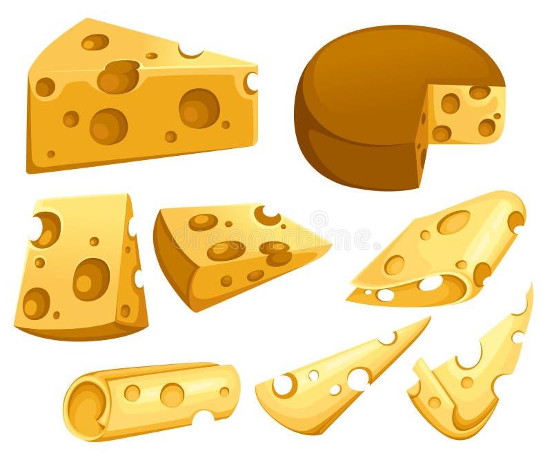 Собрание кусков сыра Триангулярная часть сыра Набор значка молочного продукта молокозавода Плоская иллюстрация вектора изолирован бесплатная иллюстрация
