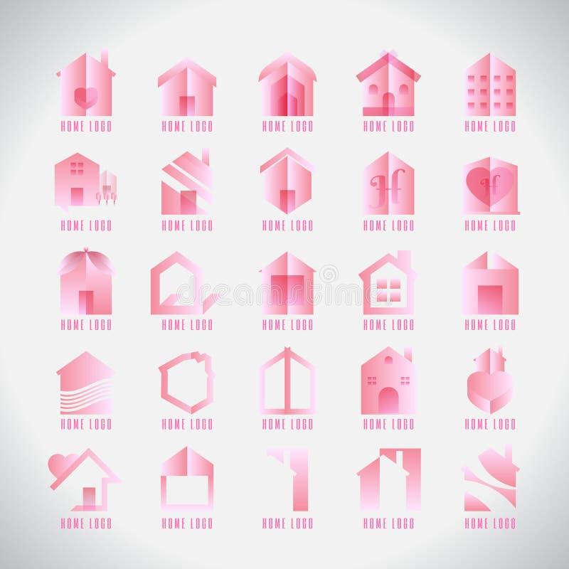 Собрание логотипа современное домашнее розовое творческо Любовь Аннотация Symb бесплатная иллюстрация