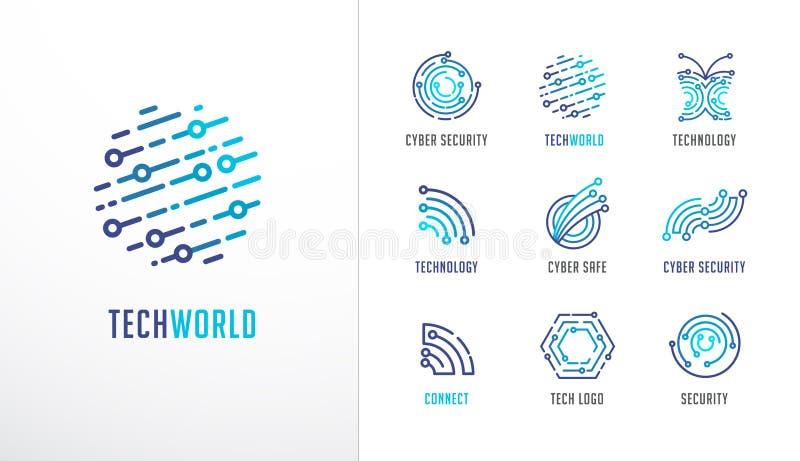 Собрание логотипов Технология, биотехнология, значки высокотехнологичного, fintech и символы иллюстрация штока
