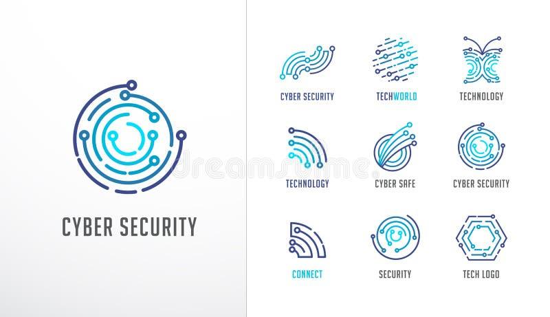 Собрание логотипов Технология, биотехнология, значки высокотехнологичного, fintech и символы бесплатная иллюстрация
