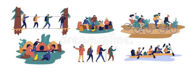 Собрание людей и женщин путешествуя совместно Установите друзей или туристов ехать велосипеды, сплавляющ на шлюпке, идя иллюстрация вектора