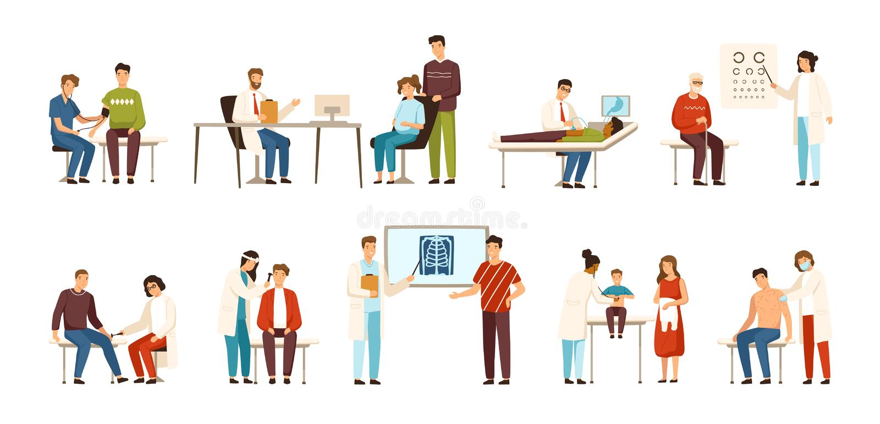 Собрание людей навещая различные доктора или врачи - терапевт, gastroenterologist, офтальмолог бесплатная иллюстрация