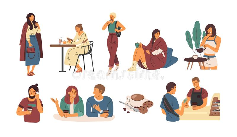 Собрание людей с горячим напитком изолированным на белой предпосылке Установите милых людей и женщин идя, сидящ на кафе иллюстрация вектора