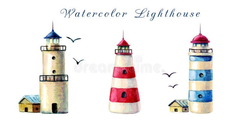 собрание маяка акварели руки вычерченное маяки изолированные на белой предпосылке иллюстрация красных и голубых striped маяков иллюстрация вектора