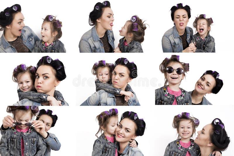 Собрание маленькой девочки фото и ее матери в curlers волос черная белизна стоковое изображение rf