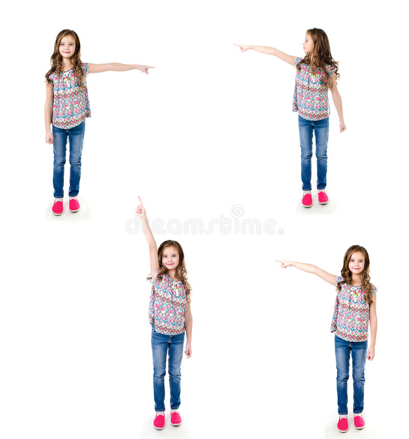 Собрание маленькой девочки фото милой указывает к стороне стоковые изображения rf