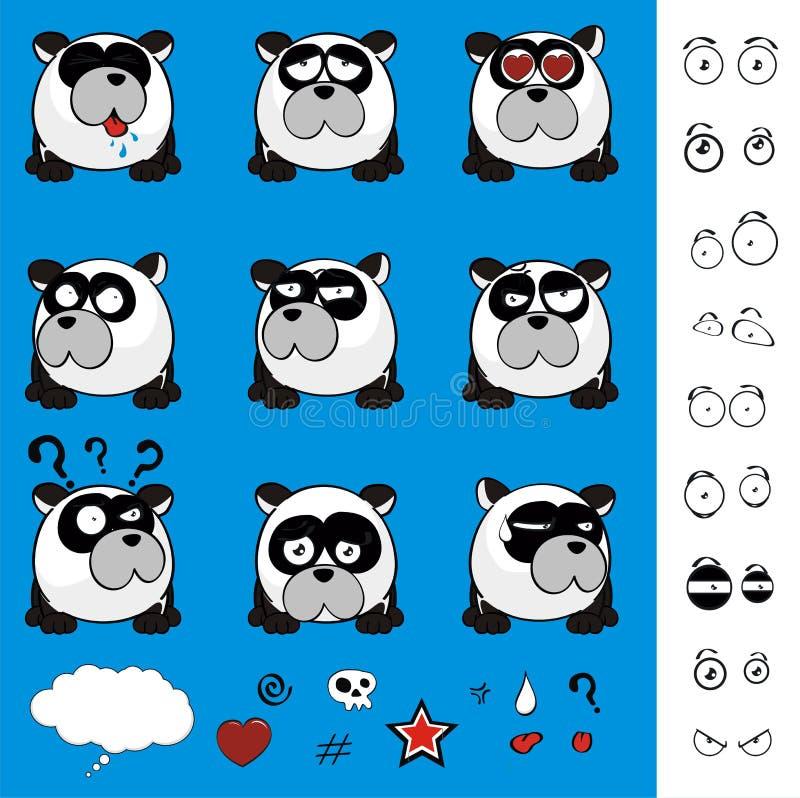 Собрание милых выражений стиля шарика медведя маленькой панды установленное бесплатная иллюстрация