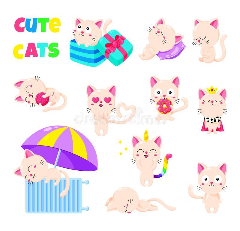 Собрание милых котов вектора Характер для печати, веб-дизайн Doodle, открытки установите стикеры иллюстрация штока