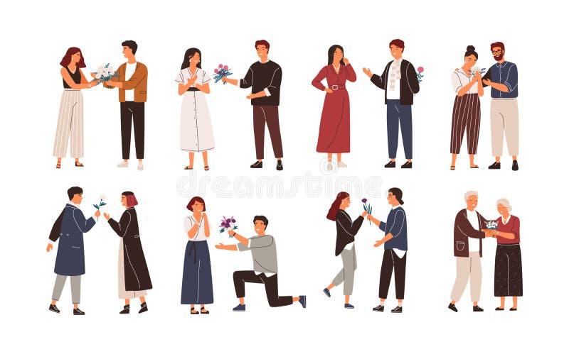 Собрание милых людей давая цветки женщинам Пачка молодой и пожилой давать почитателей или adorers красивый бесплатная иллюстрация