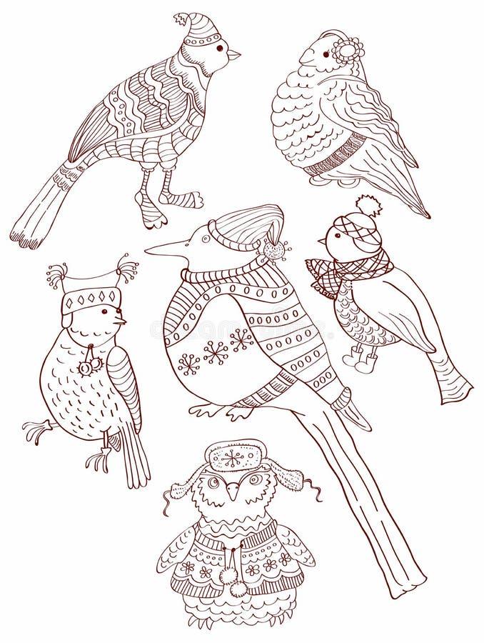 Собрание милых нарисованный вручную doodles птицы бесплатная иллюстрация