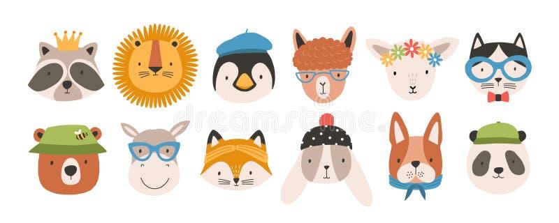 Собрание милых смешных животных сторон или голов нося стекла, шляпы, держатели и венки Комплект различного шаржа иллюстрация штока