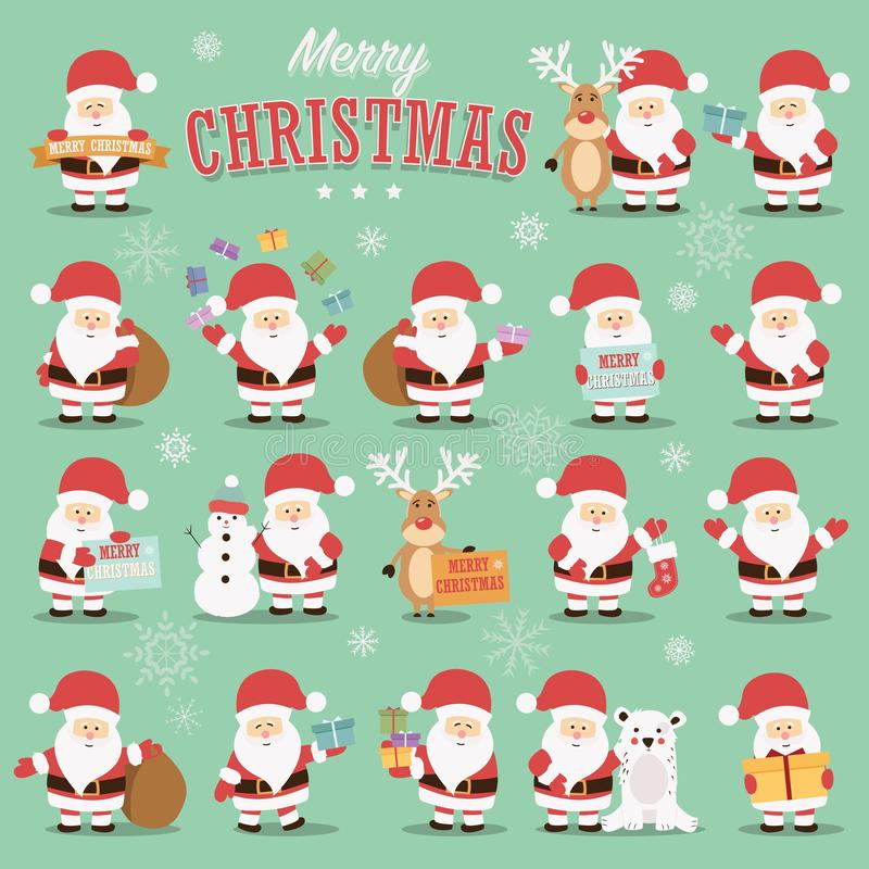 Собрание милых характеров Санта Клауса с северным оленем, медведем, снеговиком и подарками иллюстрация вектора