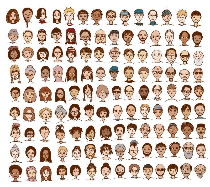 Собрание милых и разнообразных сторон иллюстрация штока