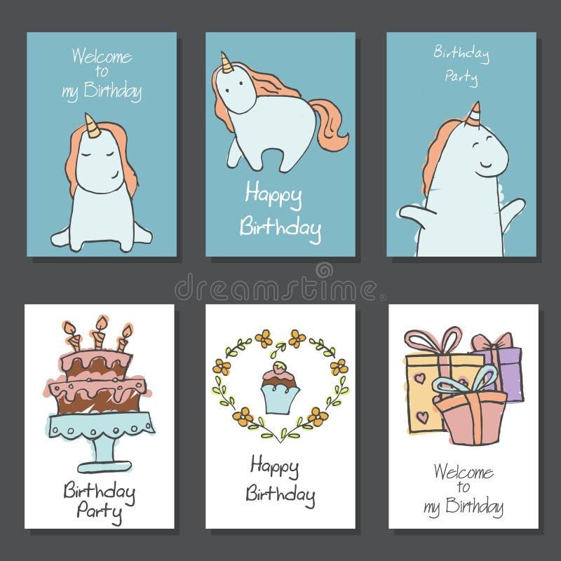 Собрание милых поздравительых открыток ко дню рождения иллюстрация штока