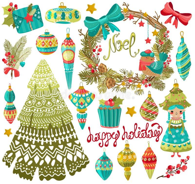 Собрание милых элементов рождества бесплатная иллюстрация