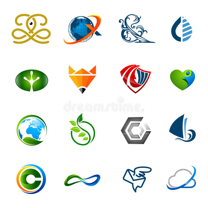 Собрание много различных логотипов с цветами ступенчатости, 2D, стоковое изображение