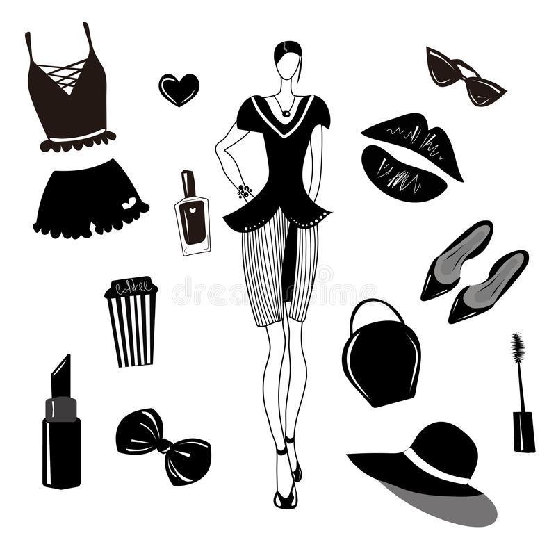 Собрание моды вектора, набор Девушки стильный аксессуар, косметика, вещество женщины Платье, сумка, губная помада, sunglass, шляп иллюстрация вектора